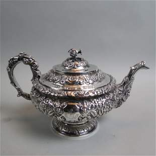 Early Irish Sterling Teapot Repousse Floral,