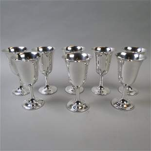 Set of 8 Wallace Sterling Silver Goblets,