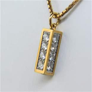 Diamond Pendant 18K Gold Cartier Type,