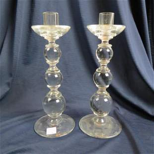 Pair of Archemede Seguso Italian Glass Candlestick
