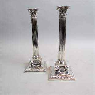 Pair Fine Early English Silverplate Candlesticks,