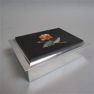 Pietra Dura Inlaid Stone & Silverplate Box,
