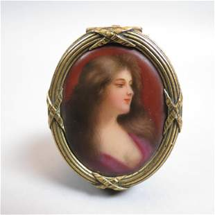 French Bronze Box with Miniature Painting,