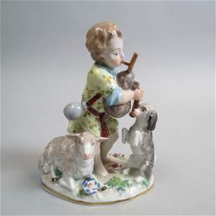 Dresden Porcelain Figurine of Boy Playing Bagpipes