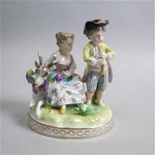 Dresden Porcelain Figurine of Boy & Girl,
