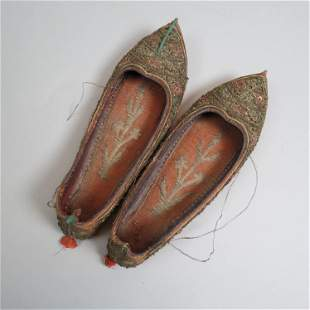 Pair of Early Chinese Embroidered Slippers,