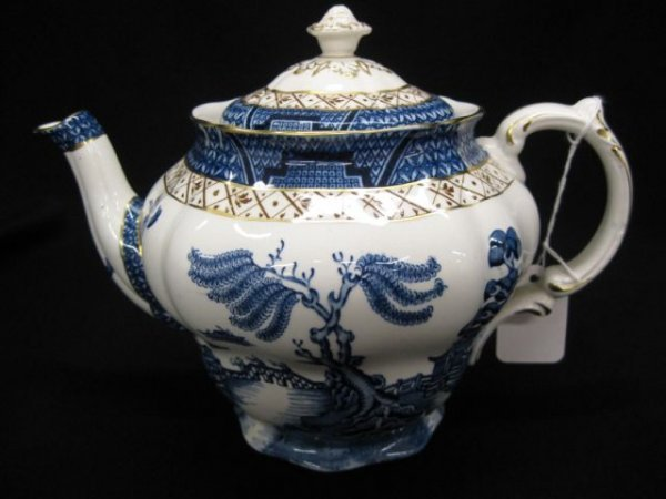 """1: Booth's """"Real Old Willow"""" Ironstone Teapot,"""