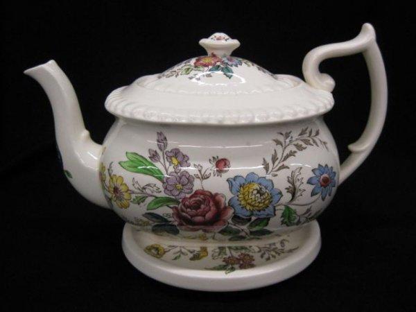 """2: Copeland Spode Romney Teapot & Trivet, 6 1/2"""" tall,"""