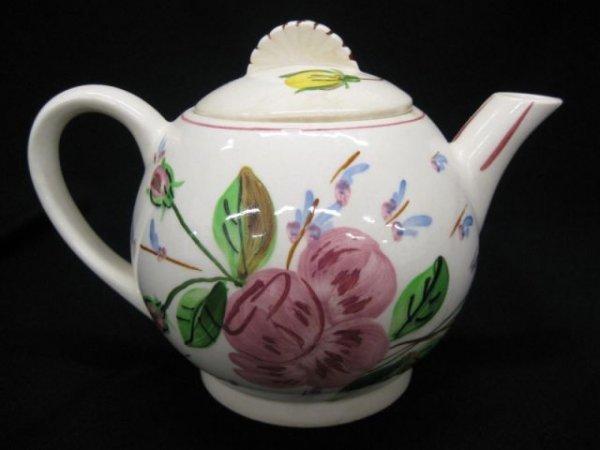 3: Blue Ridge Pottery Teapot, floral decor,