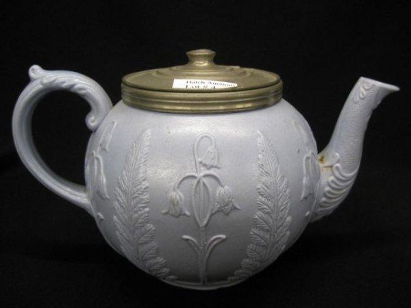 4: 19th Century Stoneware Teapot, blue with raised