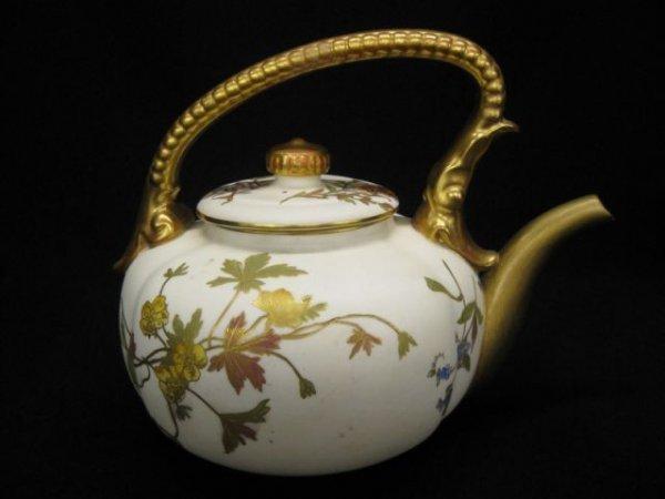6: Royal Worcester Porcelain Teapot, handpainted floral