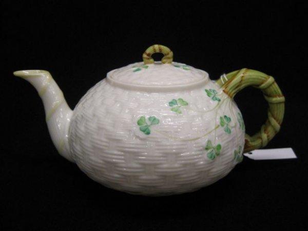 7B: Irish Belleek Porcelain Teapot, clover & basket