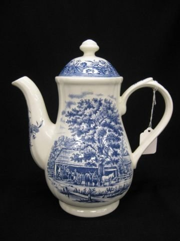 """9: English Ironstone Coffeepot, """"Cidermaking"""", Currier"""
