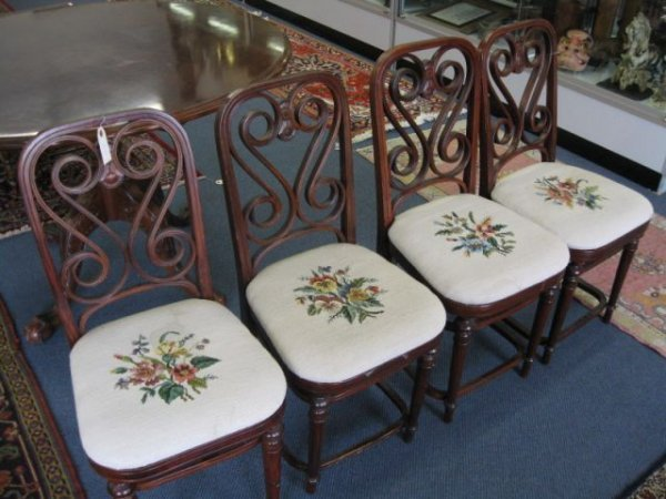 14A: Set of 4 Mahogany Chairs, fine floral needlepoint
