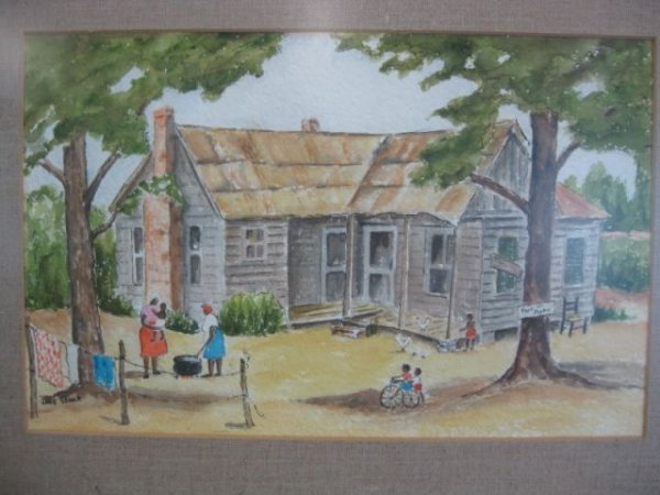 15A: Jane Shank Watercolor, of a black family outside