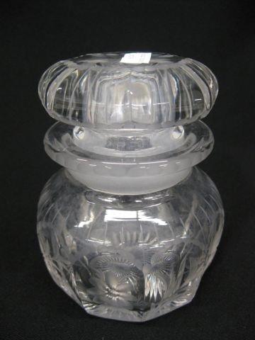 18: Heisey Etched Crystal Dresser Jar, fine floral,