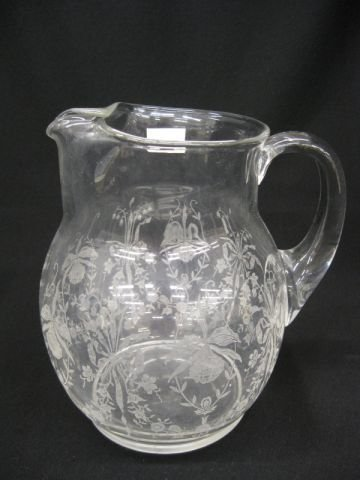 """19: Heisey Orchid Etched Crystal Pitcher, 8"""" tall,"""