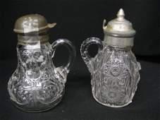 244B: 2 Victorian Pattern Glass Syrup Pitchers, McKee
