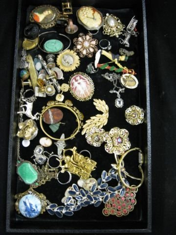 385A: Estate Lot of Jewelry; silver, costume, cameos,