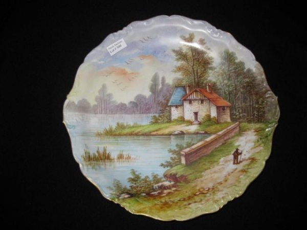 500: Limoges Handpainted Porcelain Charger, waterfront
