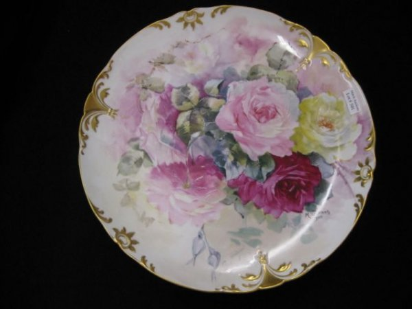 501: Limoges Handpainted Porcelain Charger, multi-color