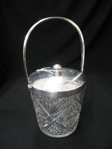 504: Cut Glass & European Silver Ice Bucket, .800 fine