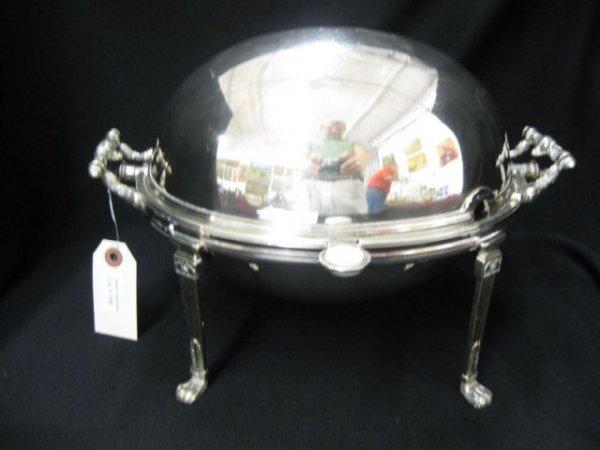 "508: Silverplate Domed Bun Warmer, footed, 8"" x 12"","