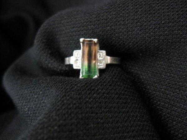 510: Watermelon Tourmaline & Platinum Ring, 2 carat gem