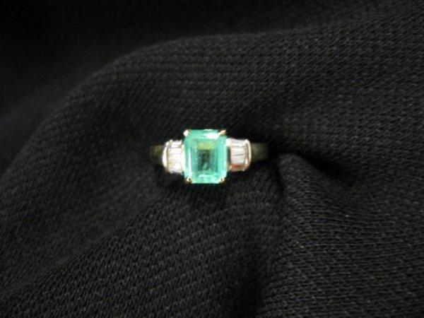 511: Emerald & Diamond Ring, 1.51 carat emerald cut gem