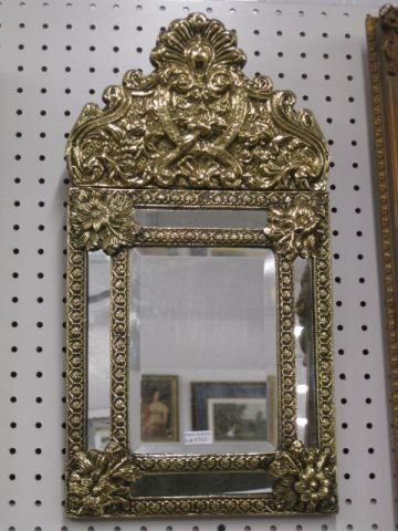 513: Ornate Dutch Mirror, fancy bas-relief brass work,