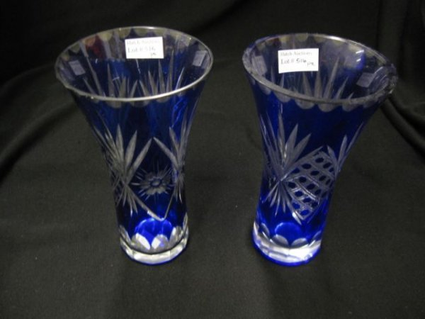 516: Pair of Cobalt Cut-to-Clear Vases, cane, flower