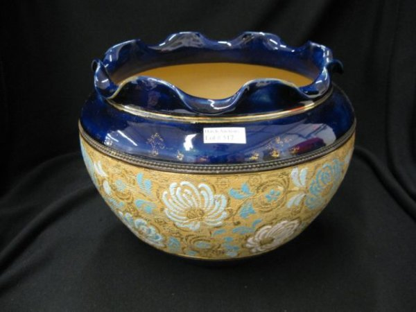 517: Doulton Slater Pottery Jardiniere, tapestry floral