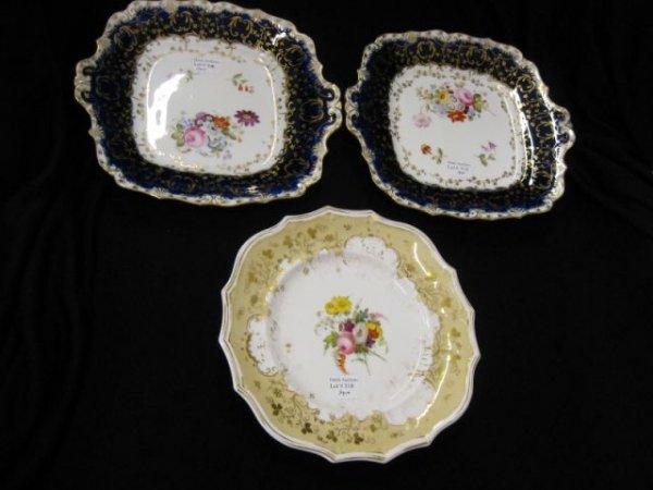 518: 3 pcs. English Porcelain; pair of cobalt