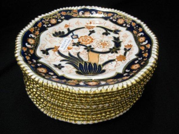519: Set of 12 Copeland Dessert Plates, Imari style