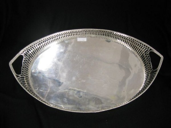 758: Dutch Sterling Silver Gallery Tray, oval,