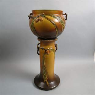 "Roseville Pottery ""Pinecone"" Jardiniere & Pedestal"