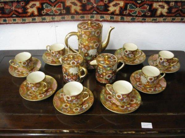 1: Japanese Satsuma Pottery Tea Set, 19 pieces includin