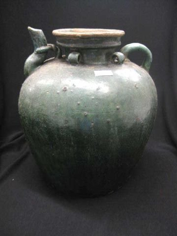 """2: Chinese Pottery Water Vessel, early, handled, 12"""" ta"""
