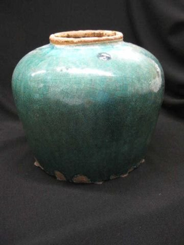 """4: Chinese Pottery Storage Jar, early, 8"""" tall, some mi"""