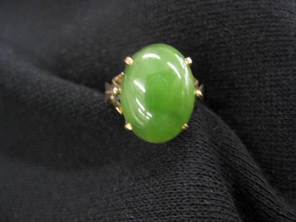 10: Jade Ring, spinach green cabachon in 18k rose color
