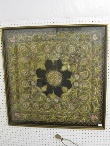 12: Oriental Embroidered Artwork, floral, gold thread.