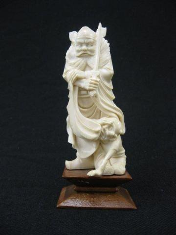 176: Carved Ivory Okimono Figurine of Shoki, with sword