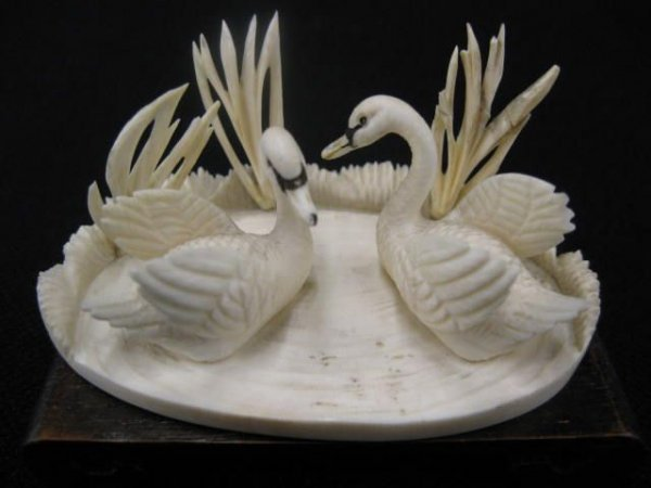 184: Carved Ivory Figurine of Two Swans upon a lake, ov