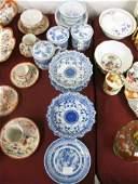 424 12 pcs Oriental Blue  White Porcelain pedestal