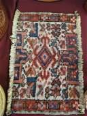 473: Hamadan Persian Handmade Mat, geometric designs, i