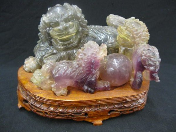 505: Chinese Carved Hardstone Statue of a Foo Dog, with