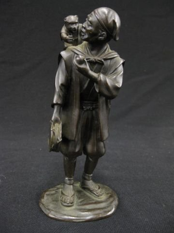 508: Japanese Bronze Statue of Man with Monkey on his b