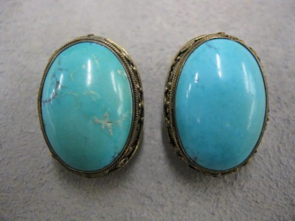 510: Chinese Turquoise Earrings, 14k gold clip backs, s