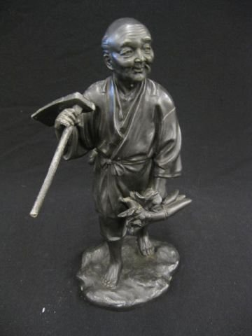 515: Japanese White Metal Statue of a Farmer, with harv