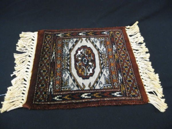 "521A: Persian Handmade Mat, fine tight weave, 12"" squar"